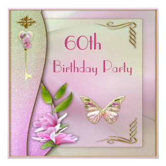 Glamorous Key, Magnolia & Butterfly 60th Birthday 13 Cm X 13 Cm Square Invitation Card