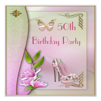 Glamorous Shoes Magnolia & Butterfly 50th Birthday 13 Cm X 13 Cm Square Invitation Card