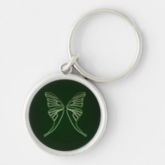 Glass Luna Moth Wings (Hunter Green) Silver-Colored Round Key Ring