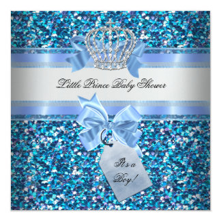 Glitter Baby Shower Boy Blue Little Prince Crown 13 Cm X 13 Cm Square Invitation Card