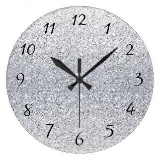Glittery Silver Ombre Wallclock