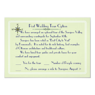 Global Destination Wedding Optional Tour RSVP 9 Cm X 13 Cm Invitation Card