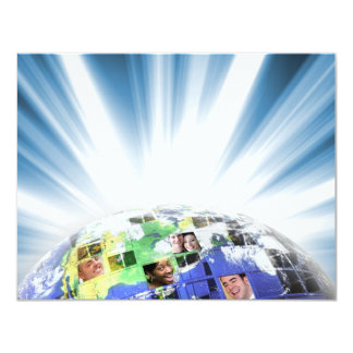 Global Worldwide Network of People 11 Cm X 14 Cm Invitation Card