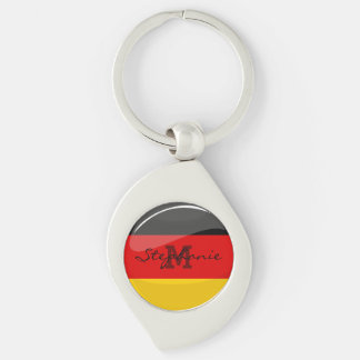 Glossy Round German Flag Silver-Colored Swirl Key Ring
