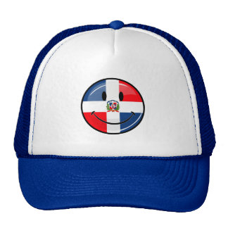 Glossy Round Smiling Dominican Flag Cap