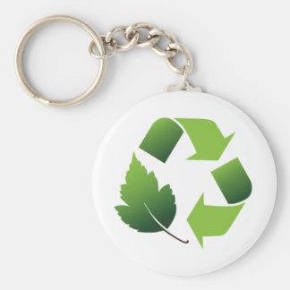 Go Green Environment Basic Round Button Key Ring