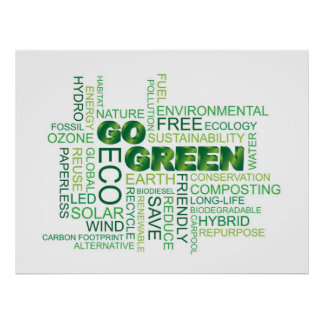 Go Green Word Cloud Poster