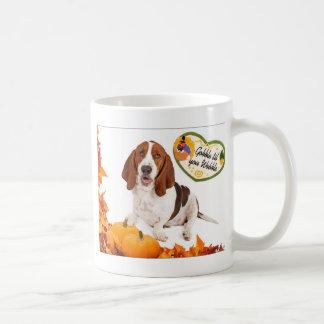 Gobble til you Wobble Thanksgiving Basset Basic White Mug