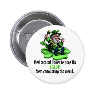 God created liquor 6 cm round badge