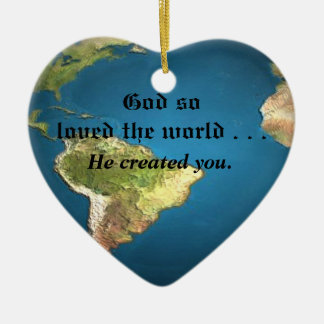God So Loved The World Ceramic Heart Decoration