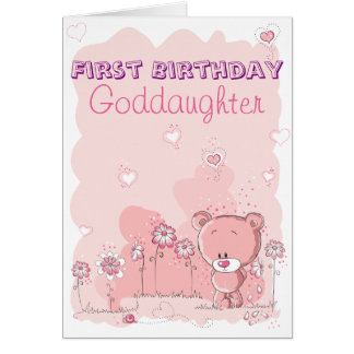 Goddaughter First 1st Birthday from Godparent Greeting Card