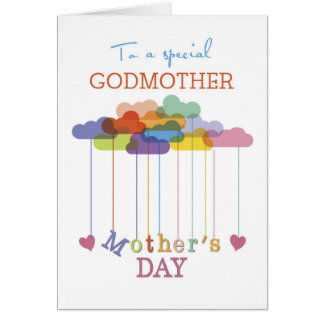 Godmother, Cute Mother's Day Rainbow Clouds Hearts Greeting Card