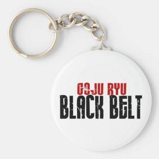 Goju Ryu Black Belt Basic Round Button Key Ring