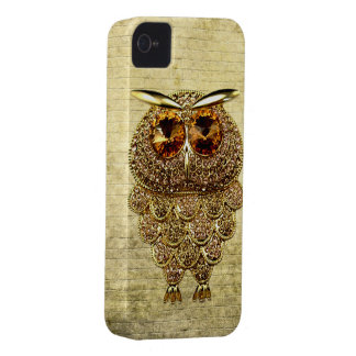 Gold & Amber Owl Jewel iPhone 4 Case