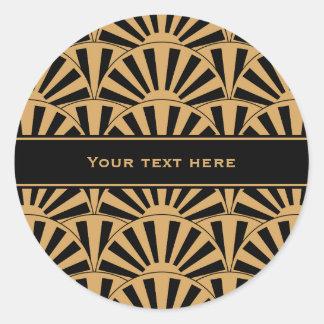 Gold and Black Art Deco Fan Flowers Motif Round Sticker