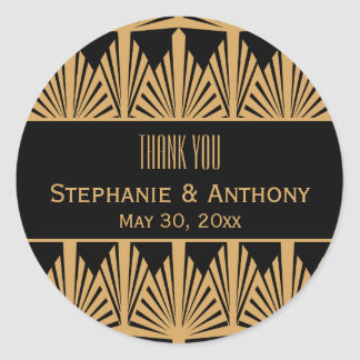 Gold and Black Art Deco Pattern Wedding Thank You Round Sticker