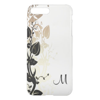 Gold and Black Floral with Monogram iPhone 7 Plus Case