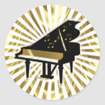 Gold and Black Grand Piano Music Notes Round Sticker