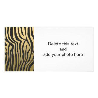 Gold and Black Zebra Stripes Pattern Photo Card