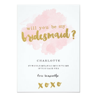 Gold and Blush Will You Be My Bridesmaid? 13 Cm X 18 Cm Invitation Card