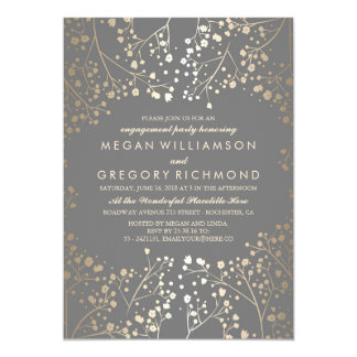 Gold and Grey Baby's Breath Engagement Party 13 Cm X 18 Cm Invitation Card