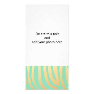 Gold and Mint Zebra Stripes Pattern Customised Photo Card