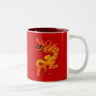 Gold and Orange Dragon for Chinese New Year Two-Tone Mug