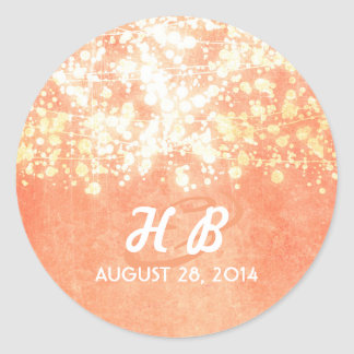 gold and peach string lights rustic wedding round sticker
