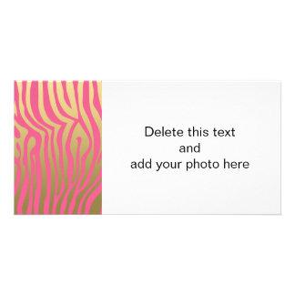 Gold and Pink Zebra Stripes Pattern Custom Photo Card