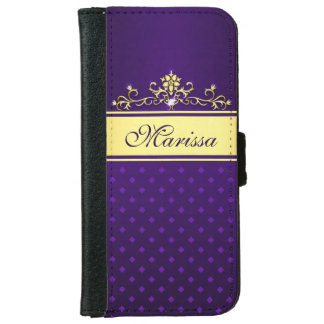 Gold and Purple Diamonds iPhone 6 Wallet Case