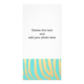 Gold and Tiffany Blue Zebra Stripes Pattern Personalized Photo Card