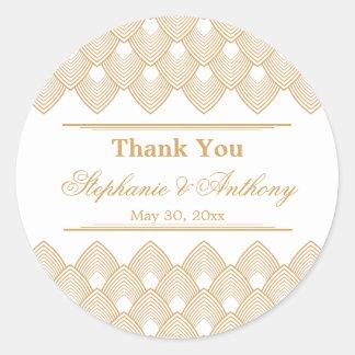 Gold and White Art Deco Pattern Wedding Round Sticker
