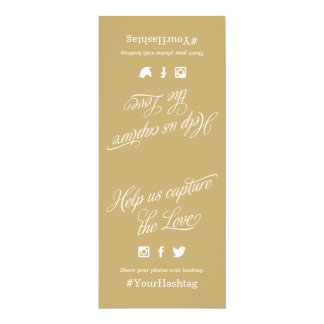 Gold and White Script Wedding Hashtag Sign 10 Cm X 24 Cm Invitation Card