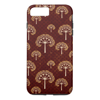 Gold and White Trees on Dark Red Pattern iPhone 7 Plus Case