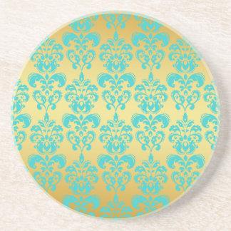 Gold, Aqua Blue Damask Pattern 2 Coaster