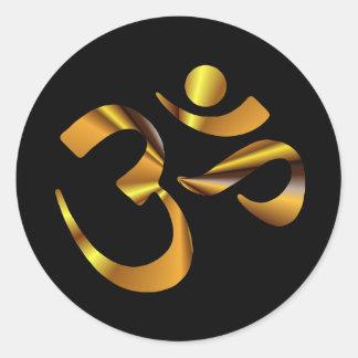 Gold Aum Round Sticker