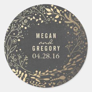 Gold Baby's Breath Floral Bouquet Chalkboard Round Sticker