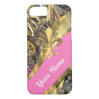Gold bling fleur de lys iPhone 7 case