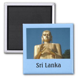 Gold Buddha Image Square Magnet