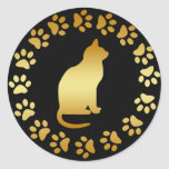 GOLD CAT AND PAWS ROUND STICKER