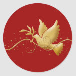 Gold Christmas dove of peace christian event stick Round Sticker