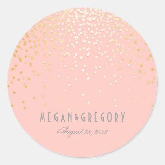Gold Confetti Blush Pink Wedding Round Sticker