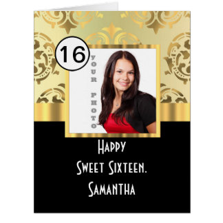 Gold damask photo template sweet sixteen big greeting card