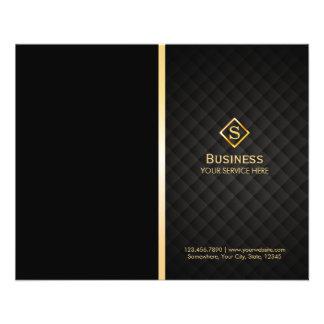 Gold Diamond Monogram Elegant Bi-Fold Brochure 11.5 Cm X 14 Cm Flyer