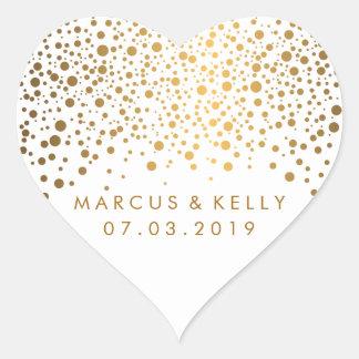 Gold Dots Confetti   Wedding Heart Sticker