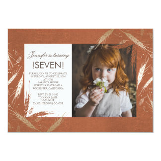 Gold Fall Wheat Rustic Orange Photo Birthday Party 13 Cm X 18 Cm Invitation Card
