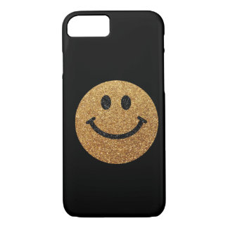 Gold faux glitter smiley face iPhone 7 case