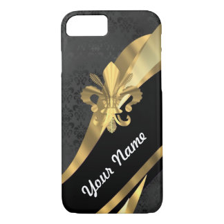 Gold fleur de lys on black iPhone 7 case