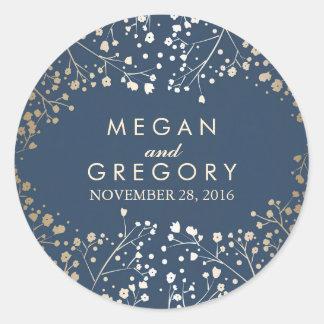 Gold Foil Baby's Breath Navy Wedding Round Sticker