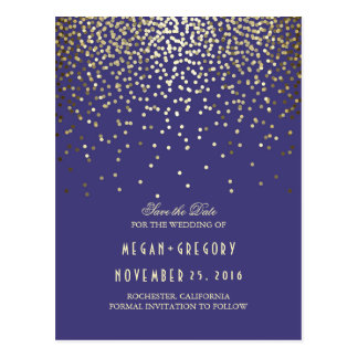 gold foil confetti navy save the date postcard